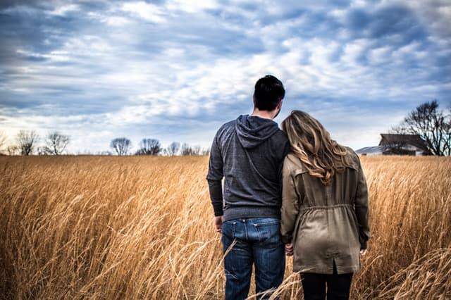 麦畑で手を繋いで寄り添う夫婦の画像