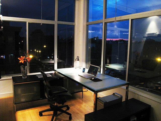 Brooklyn Home Office, Minimized, At Night By mkosut