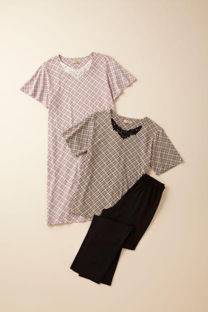 ルームドレス 右 ¥12,600(サイズ S、M、L) 左 ¥12,600(サイズ M、L)