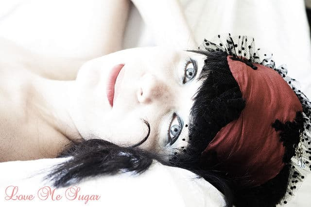 Burlesque inspired sleep mask in silk ByMadEmoiselle Sugar