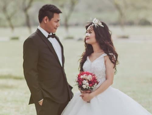 花婿と花嫁の画像